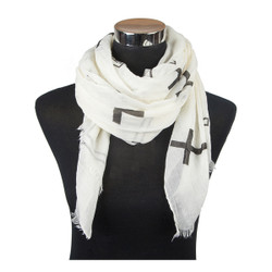 Cross Print Viscose Scarf