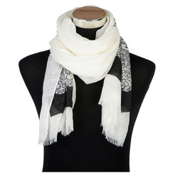 Paisley Outline Print Viscose Scarf Black