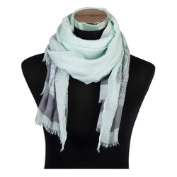 Paisley Outline Print Viscose Scarf Mint