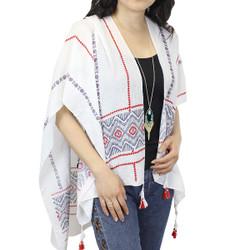 Red Ruana Kimono with Tassels