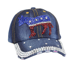 Democratic Donkey Rhinestone Baseball Cap Denim