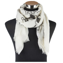 Nautical Print Viscose Scarf Black
