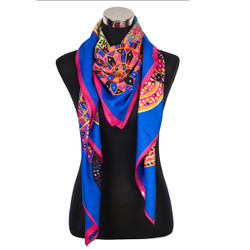 Kaleidoscope of Mosaic Colors Blue Scarf