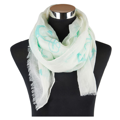 Nautical Viscose Scarf Green