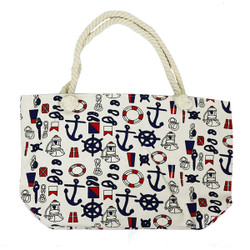 Nautical Wheel and Anchor Canvas Large Tote Rope Handles Beige