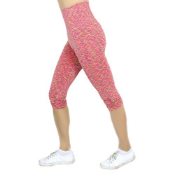Multicolor Print Sports Capri Pink