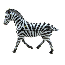 Zebra Trinket Box Enameled Bejeweled