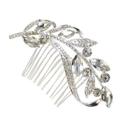 Crystal Marquis Leaves and Rhinestone Vine Hair Comb Silver