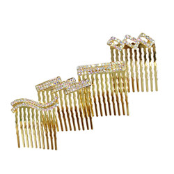 Rhinestone Assorted Set of Mini Hair Combs Gold
