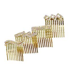 Rhinestone Assorted Set of Mini Hair Combs Gold