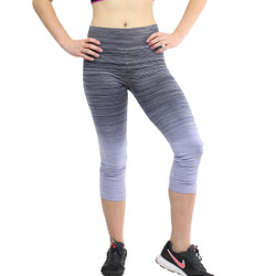 Ombre Yoga Athletic Workout Exercise Capris Leggings Black