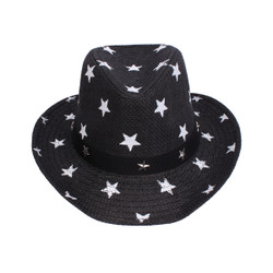 Western Style Shapeable Cowboy Hat - USA, Patriotic Stars Black
