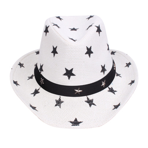 Western Style Shapeable Cowboy Hat - USA, Patriotic Stars White