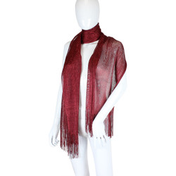 Shimmer and Shine Fringed Scarf Burgundy