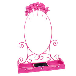 Hot Pink Flower Jewelry Rack with Tray