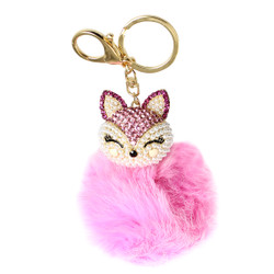 Rhinestone Fox Fur Pom Pom Keychain Purse Charm Fuchsia