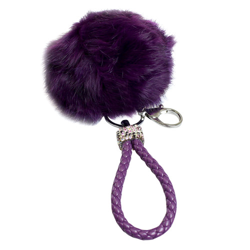 Rhinestone Braided Loop Pom Pom Keychain Purse Charm Purple