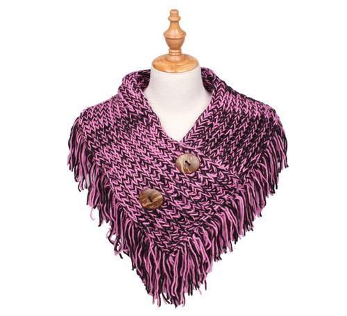 Cable Knit Button Collar Scarf Black/Pink