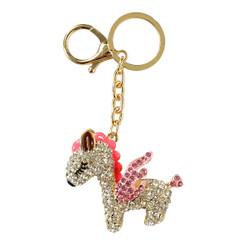 Rhinestone Unicorn Keychain Purse Charm Pink