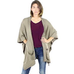 Button Wrap Hooded Cardigan Poncho Khaki