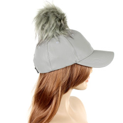 Poms Away Baseball Cap Grey