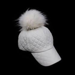 Quilted Poms Away Baseball Cap Ivory