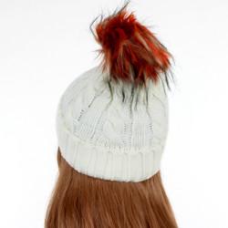 Knit Pom Pom Beenie Ivory