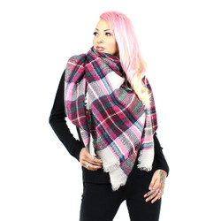Knitted Oversized Square Scarf In Check Pink