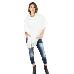 Faux Short Fur Poncho Ivory