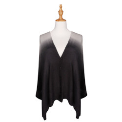 Multi Use Soft Scarf with Buttons Ombre Black