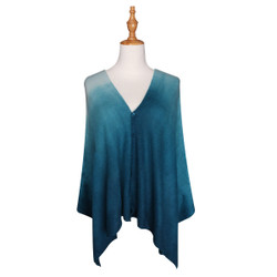 Multi Use Soft Scarf with Buttons Ombre Blue