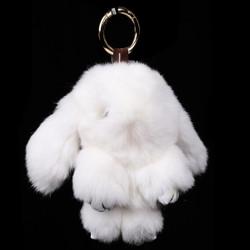 Rexy Rabbit Keychain Purse Charm White