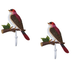 Matching Set of 2 Red Bird House Finch on Branch Wall Hook for Coat Hat Purse