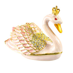 Crowned Pearl Swan Trinket Box