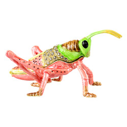 Pink Grasshopper Trinket Box