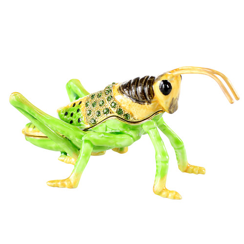 Green Grasshopper Trinket Box