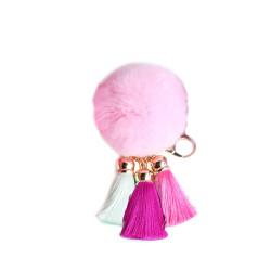 Pom Pom with Tassels Keychain Pink