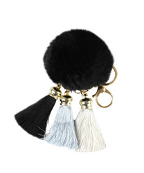 Pom Pom with Tassels Keychain Black