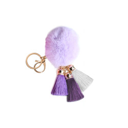 Pom Pom with Tassels Keychain Purple