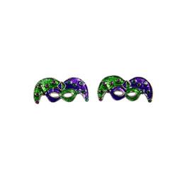 Mardi Gras Mask Earings Purple and Green Silver