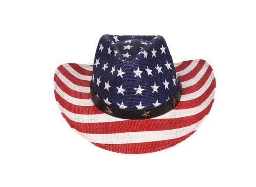 Western Style Shapeable Cowboy Hat - USA, American Flag, Patriotic, America Stars