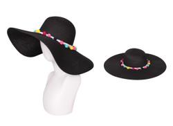 Floppy Hat with Pom Pom Band Black