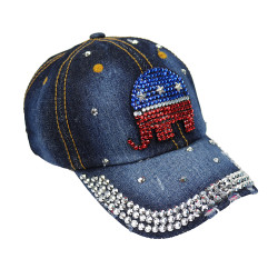 Republican Elephant Rhinestone Baseball Cap Denim Dark Blue