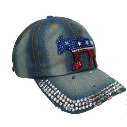 Democratic Donkey Rhinestone Baseball Cap Denim Light Blue