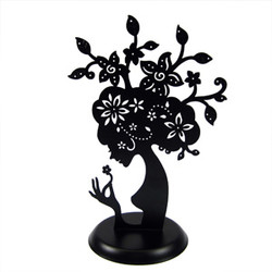 Mother Nature Tree Jewelry Stand Black Cut Out Metal Silhouette