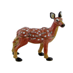 Spotted Chital Deer Trinket Box Bejeweled