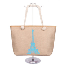 Eiffel Tower Canvas Tote Blue