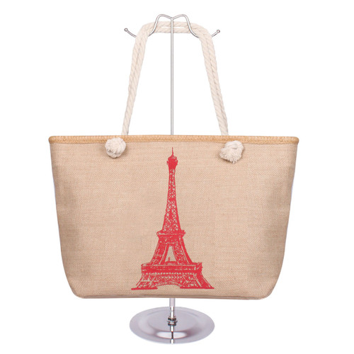 Eiffel Tower Canvas Tote Red