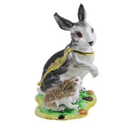 Mother and Baby Rabbit Grey Trinket Box Bejeweled Bunny