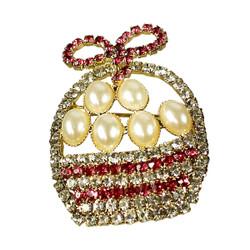 Easter Basket Brooch Crystals Pearl Eggs